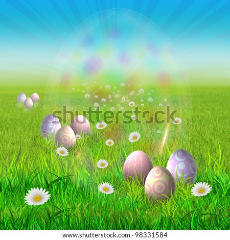 Colorful Easter Eggs in The Green Grass