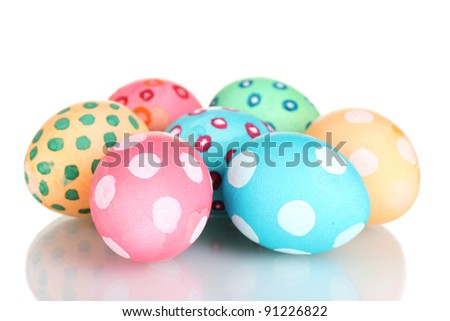 Colorful Easter Eggs isolated on white - stock photo