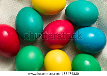 Colorful easter eggs on a napkin