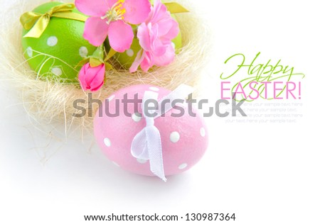 Colorful easter eggs on a white background - stock photo
