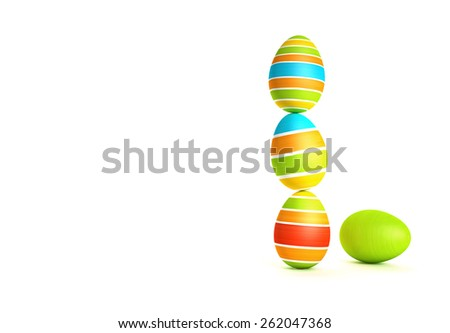 Colorful easter eggs on white background - stock photo