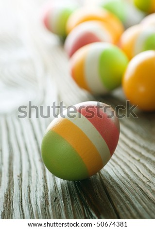 Colorful Easter Eggs.Selective focus
