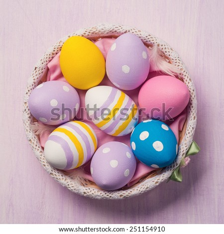 Colorful Easter eggs. Top view - stock photo