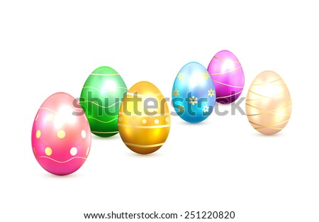 Colorful Easter eggs with decorative elements on white background, illustration. - stock photo