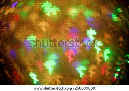 colorful eastern orthodox cross bokeh background - stock photo