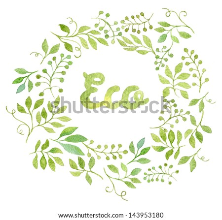 Colorful ECO text in watercolor leaves frame - stock photo