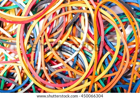 Colorful elastic bands close up