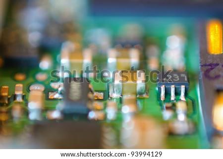 Colorful electronic microchips. Macro shot. - stock photo