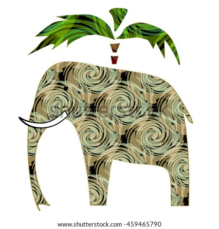 Colorful elephant with pattern and palm on white background - stock photo