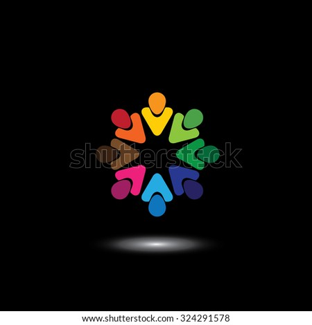 colorful employees & executives together in meetings. This illustration also represents students community, workers union, children playing, excited people, friendship, unity - stock photo