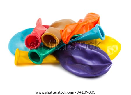 Colorful empty balloons isolated on white background