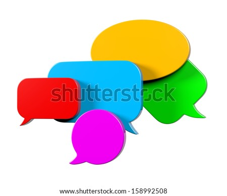 Colorful, Empty Blank 3D Comic Speech Bubbles Set Isolated on White Background - stock photo