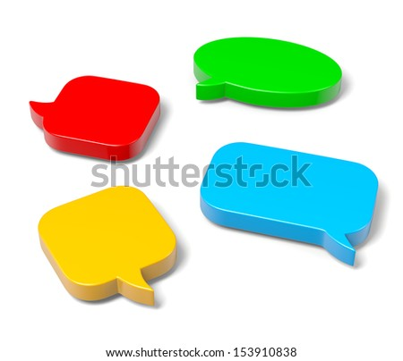 Colorful, Empty Blank 3D Comic Speech Bubbles Set on White Background - stock photo