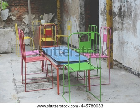 colorful empty chairs