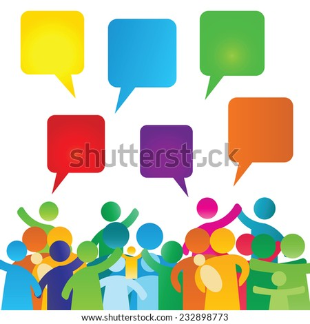 Colorful, empty speech bubbles and people group