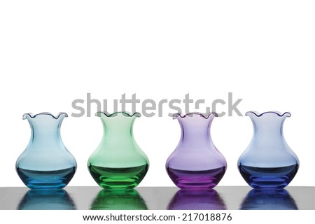 Colorful Empty Vases Against White Background Stock Photo Royalty