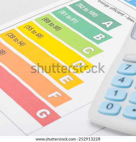 Colorful energy efficiency chart with calculator - stock photo