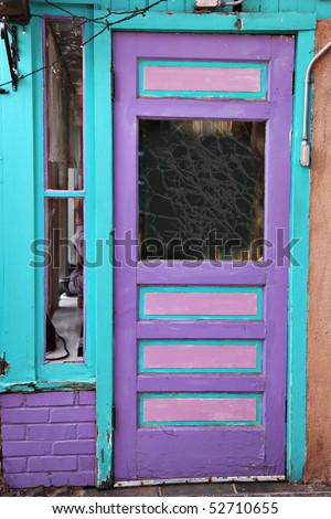 Colorful entrance in Santa Fe, New Mexico - stock photo