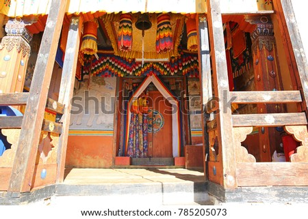 Colorful entrance into Changri Monastery in the mountains of Bhutan.