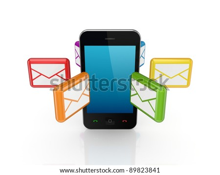 Colorful envelopes around mobile telephone.Isolated on white background.3d rendered.