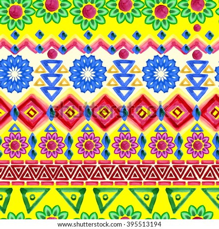 Colorful ethnic pattern. Watercolor tribal background. - stock photo
