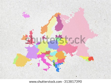 colorful Europe map on stained glass