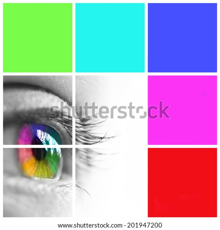 Colorful eye and colours mosaic - stock photo