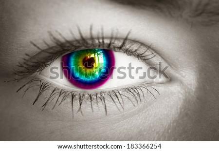 Colorful eye close-up. Toned image.  - stock photo