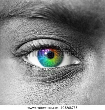 Colorful eye extreme close-up - stock photo