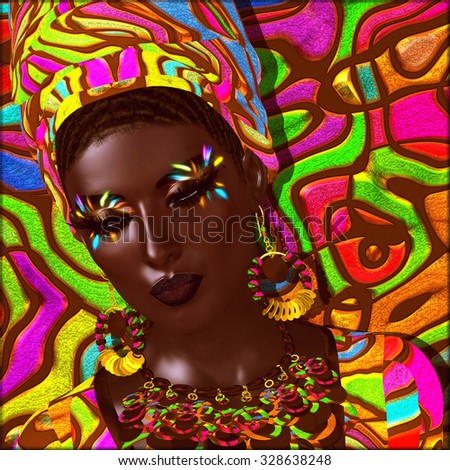 Colorful eye shadow, matching background, head dress and accessories all come together to  express this beautiful African  digital model deep in thought. Perfect for beauty,fashion,cosmetics themes. - stock photo