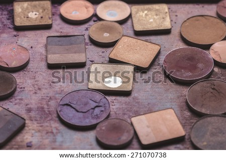 Colorful eye shadows palette. Makeup background - stock photo