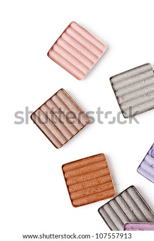 colorful eyeshadow on white background