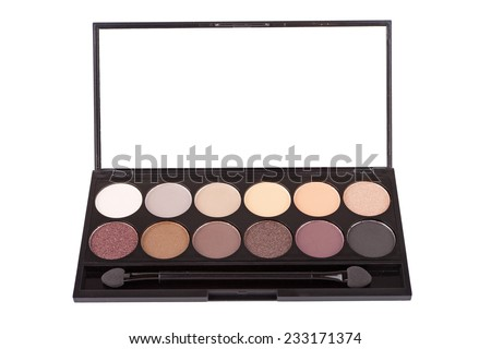 Colorful eyeshadow palette, isolated on white - stock photo
