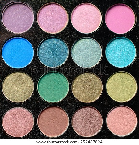 Colorful eyeshadow palette - Square composition - stock photo