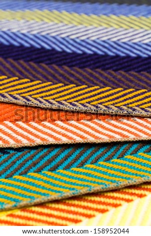 Colorful fabrics in detail view - stock photo