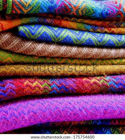 Colorful fabrics in Peru - stock photo