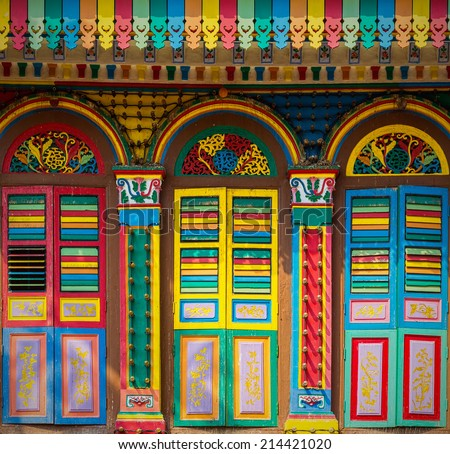 Colorful facade of building in Little India, Singapore  - stock photo