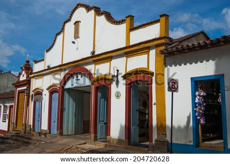 Colorful facade of old building in Brazilian countryside - stock photo