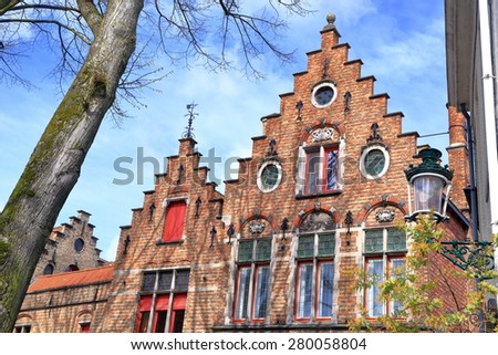 Colorful facades of medieval building with Gothic architecture in Bruges, Belgium
