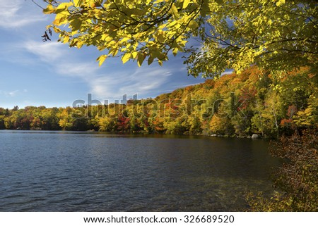 Colorful fall foliage along shore of Russell Pond in the White Mountains near Woodstock, New Hampshire, with yellow birch leaves in foreground, horizontal image.