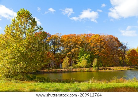 Colorful fall foliage of deciduous trees near the water. Small gazebo near the pond in US National Arboretum in Washington DC.  - stock photo