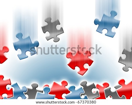 Colorful falling puzzle pieces background design - stock photo