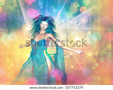 Colorful fantasy background with bokeh effect and woman.