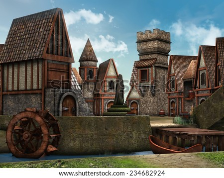 Colorful fantasy village with medieval cottages by a river  - stock photo