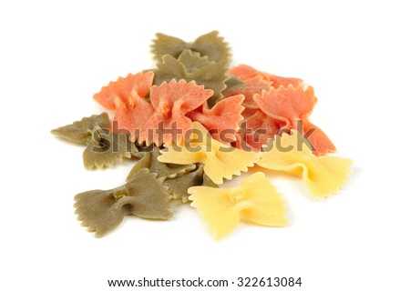 Colorful Farfalle (Bow-Tie) Pasta Isolated on White Background - stock photo