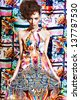 Colorful fashion model in beauty dress, stay on extra contrast pattern background , look at camera - stock photo