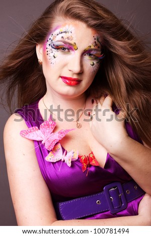 Colorful fashion portrait of attractive nude young beauty lady
