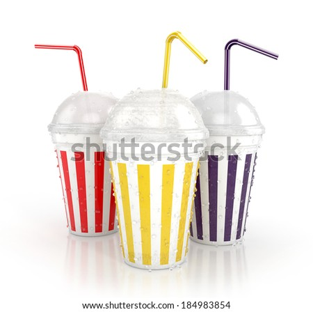 colorful fast food paper cups with drinking straws isolated on white background. 3d illustration - stock photo