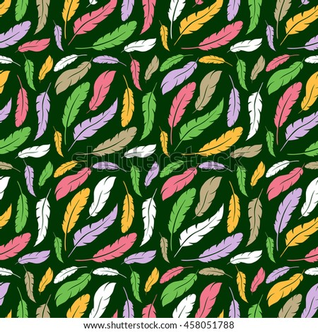 Colorful feather seamless pattern background - stock photo