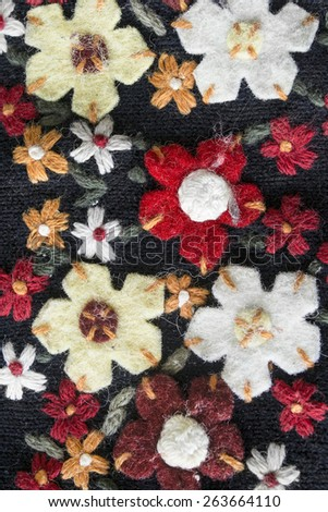 Colorful felt flowers closeup as a background - stock photo